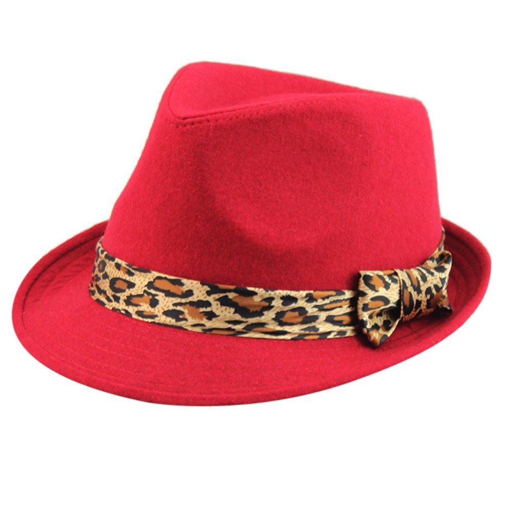 Zhuhaitf Adult Leopard Bowknot Wool Cap Men Women Autumn Winter Wide Brim Jazz Cap