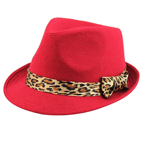Zhuhaitf Alta calidad Vintage Unisex Adult Mens Womens Autumn Winter Leopard Bowknot Wide Brim Wool ...