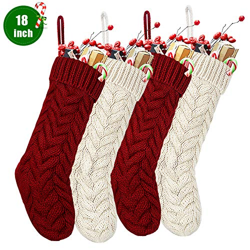 """SEVENS Knit Christmas Stockings, 4 Pack 18"""" Large Cable Xmas Stockings Classic Burgundy Red & Ivory White Chunky Hand Stockings"""