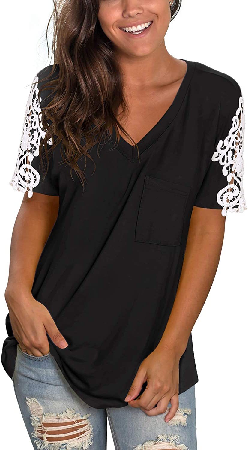 Sieanear Women's Lace Short Sleeve V-Neck T-Shirt Loose Casual Summer Tee Tops