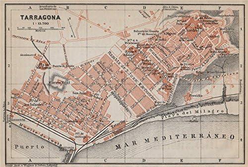 BAEDEKER 1913 TARRAGONA antique town city ciudad plan Spain España mapa