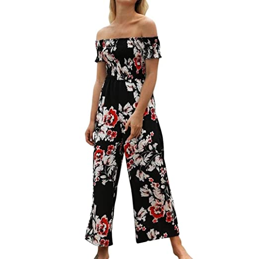 041388d149d1 Women s Off Shoulder Strapless Floral Printed Cropped Wide Leg Jumpsuits  Rompers Pants (S