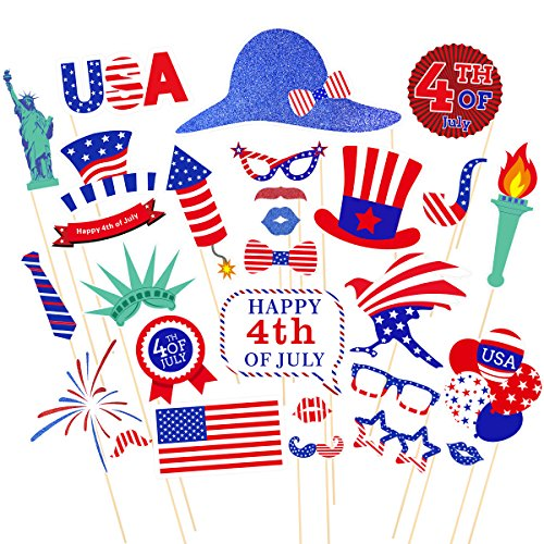 Tinksky 4th of July Photo Booth Props Patriotic Party Props American Independence Day Party Decorations,Pack of 28