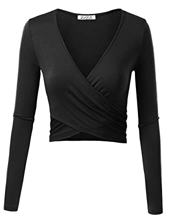 KIRA Women's Deep V Neck Long Sleeve Unique Cross Wrap Slim Fit ...