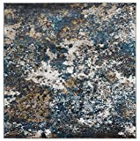 Persian-Rugs 6490 Turquoise 8 x 10 Abstract Modern Area Rug