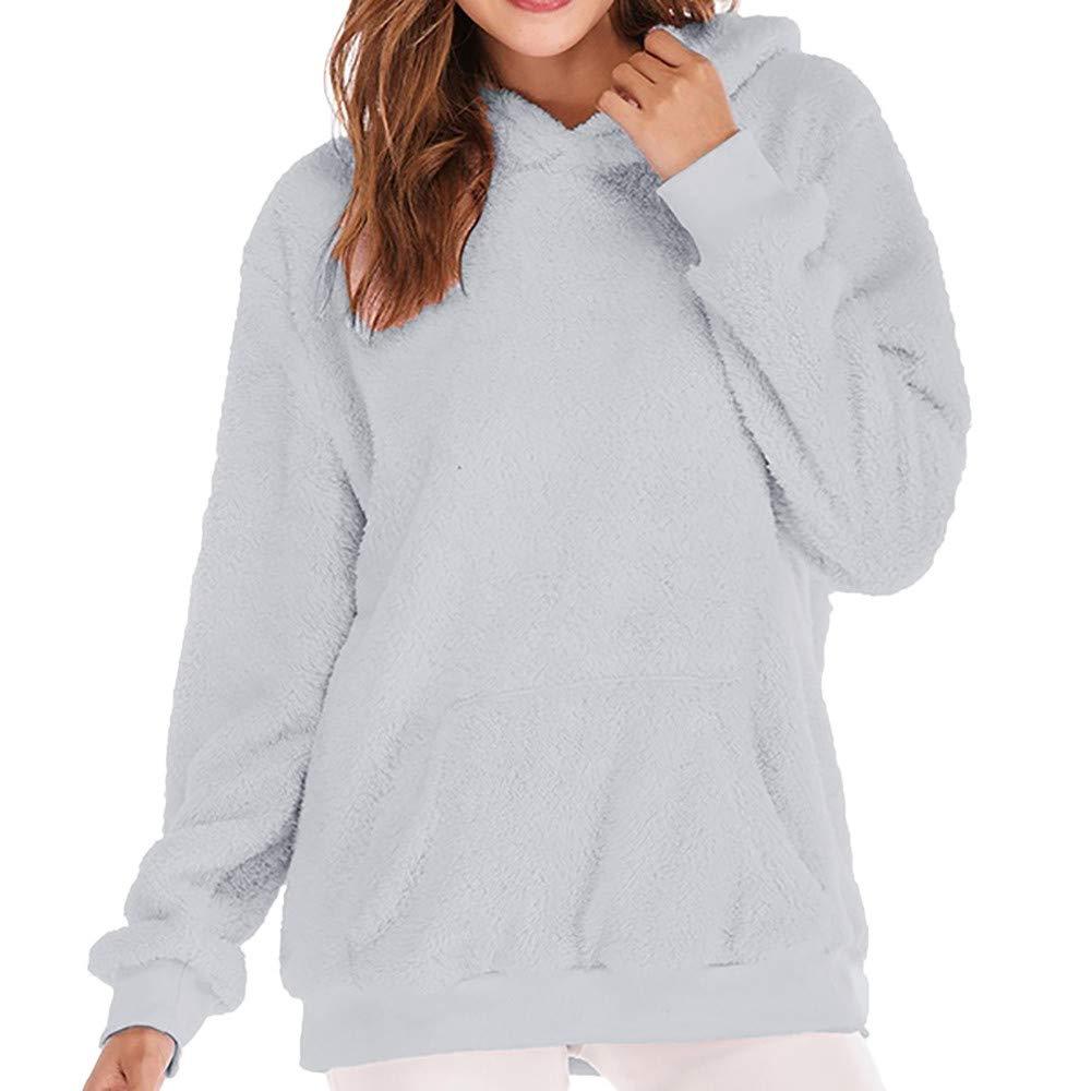Darringls Sweat Shirt Hooded Sports Femme Hiver Chaud Moelleux Hairy /À Capuche Pull Automne Tops /à Manches Longues Dames De Mode Casual L/âche /À Capuche Top Jumper S-3XL