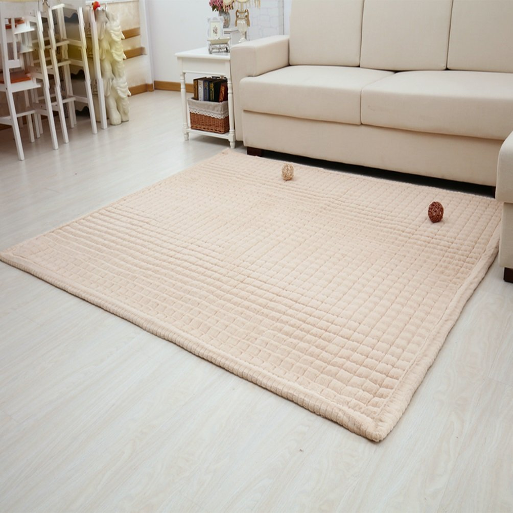 WAN SAN QIAN- Rug Children's bedroom Climbing mat Bedroom Fully carpeted Living room Rectangular carpet Cloakroom Mat Rug ( Color : Camel , Size : 110x210cm )
