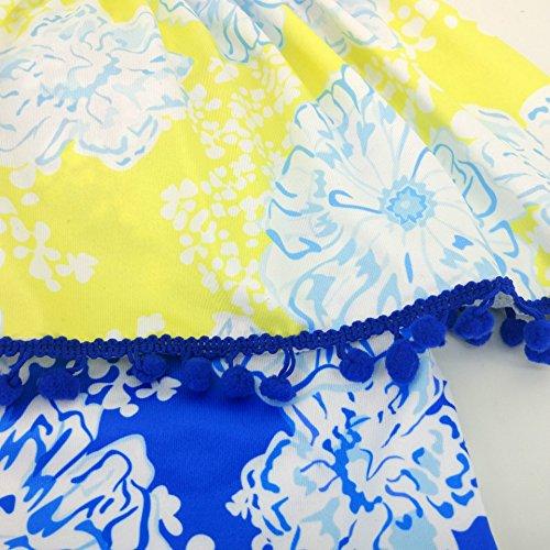 Summer Mae Mujer Traje de una pieza Floral En Hombro Descubierto con Volantes Azul