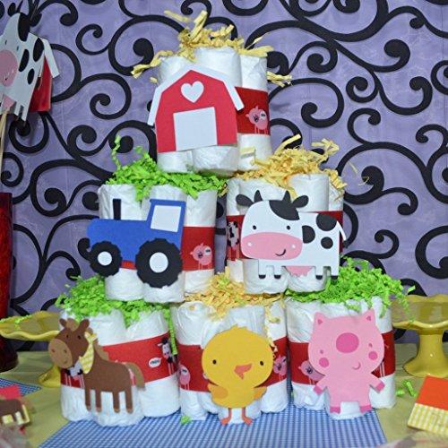 Barnyard Baby Diaper Cake (Down On the Farm / Barnyard Baby Shower 6 pc Mini Diaper Cake)