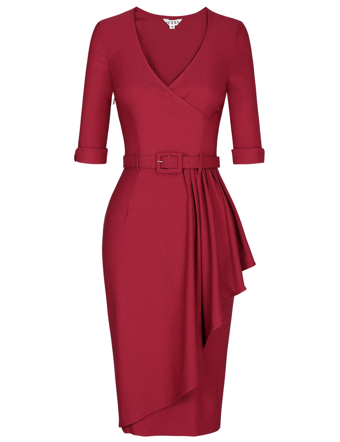 MUXXN Women's 1950's Style Cut Out Neck Knee Length Bridesmaid Dress (Burgundy L)