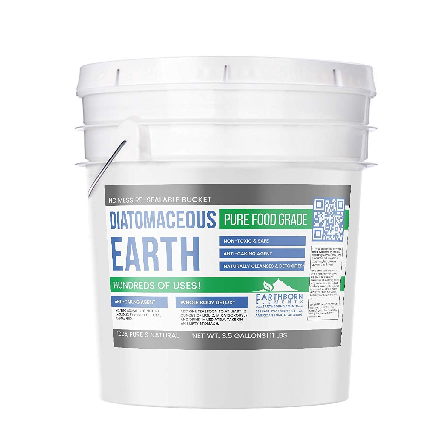 Diatomaceous Earth (3.5 Gallon (11 Lbs.)) by Earthborn Elements, Resealable Bucket, Highest Quality, FCC Food Grade, 100% Pure Freshwater Amorphous Silica