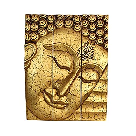 Large thai buddha face statue wooden carved wall art hanging panels on teak wood