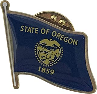 product image for Set of 24 Oregon Single Waving State Flag Lapel Pin - Made in The USA