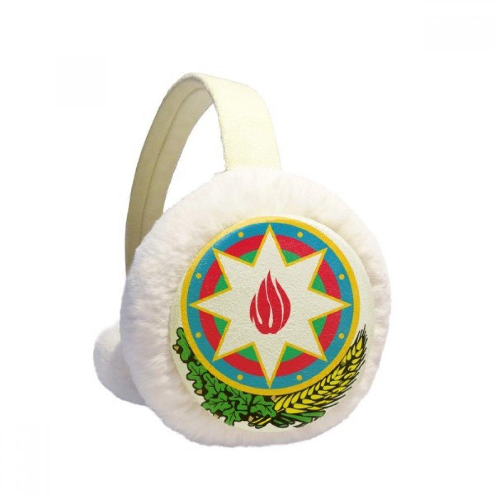 Baku Azerbaijan National Emblem Winter Earmuffs Ear Warmers Faux Fur Foldable Plush Outdoor Gift