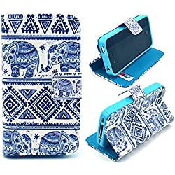 iphone 4 Case,iphone 4S Case, Welity Cute Fashion Elephant Graphic Magnetic Snap Wallet Flip PU Leather With Stand Cover Case for Apple iPhone 4/4S/4G and one gift