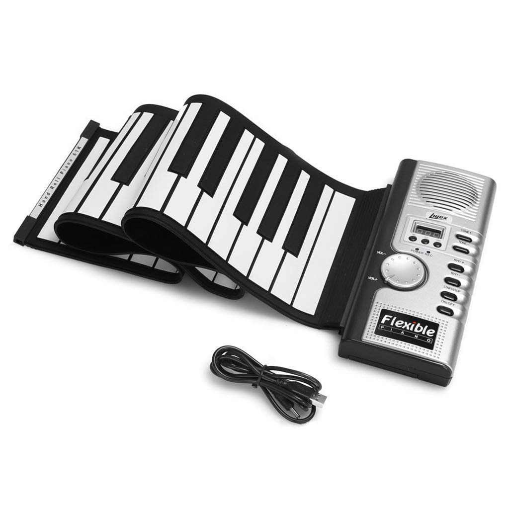 Folding Piano Roll Up Electronic Digital Piano 61Key Thickened Silicone Hand Roll Keyboard Recording/Programming/Playback/Internal Loudspeaker,Silver