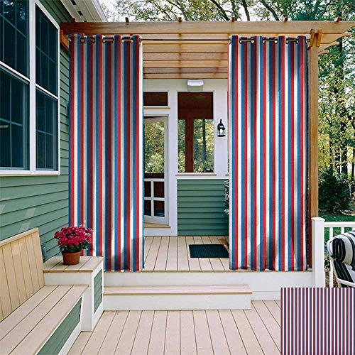 (leinuoyi Harbour Stripe, Outdoor Curtain Extra Wide, Vertical Patriotic Colorful Contrast Toned American Colors, for Patio W120 x L96 Inch Vermilion Violet Blue White)