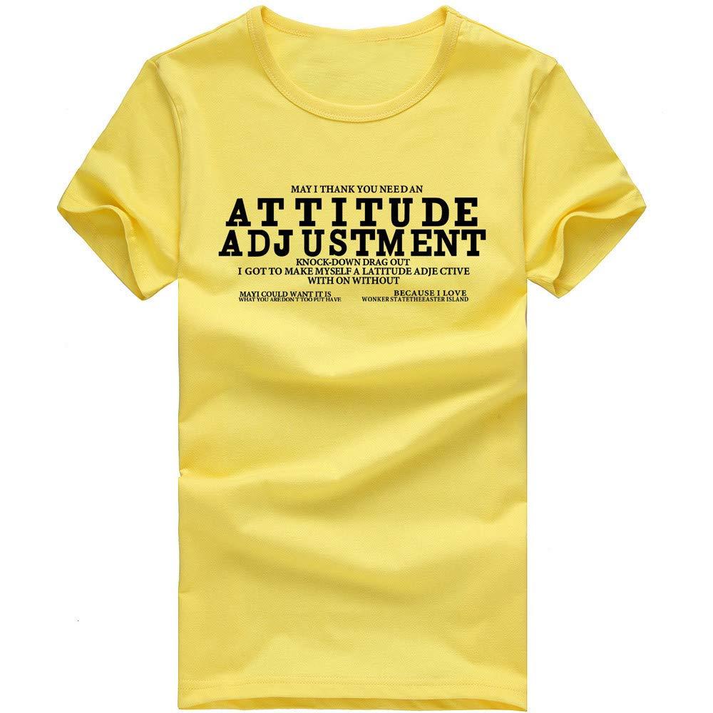 EOWEO Men's Short T-shirt Men Boy Letter Printing Tees Shirt Short Sleeve Cotton T Shirt Clothes YE/L(Large,Yellow)