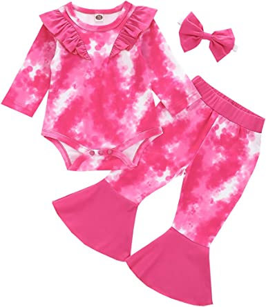 IMEKIS Newborn Baby Girls Ruffle Sleeve Romper Cotton One Piece Bodysuit Outfit