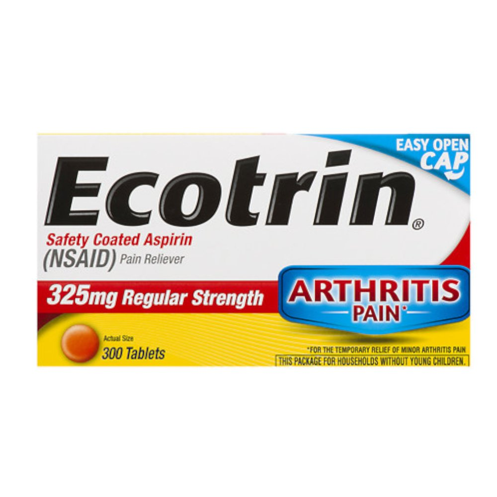 Ecotrin Safety Coated Tablets, 325 mg Regular Strength, 300-Count Bottles (Pack of 2)