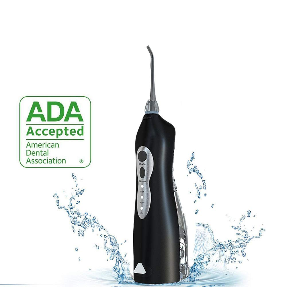 Water Flosser Timing and Memory Function Cordless Mouth Cleaner IPX7 Waterproof USB Charging Black and White,Black