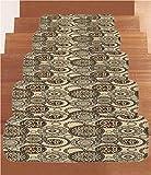 Non-Slip Carpets Stair Treads,Primitive,African Safari Patterns Cheetah Skin Print Animal Theme Neutral Color Decoration,Brown Beige,(Set of 5) 8.6''x27.5''