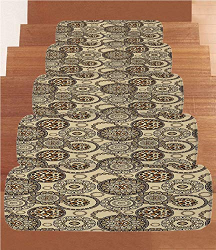 Non-Slip Carpets Stair Treads,Primitive,African Safari Patterns Cheetah Skin Print Animal Theme Neutral Color Decoration,Brown Beige,(Set of 5) 8.6''x27.5'' by iPrint