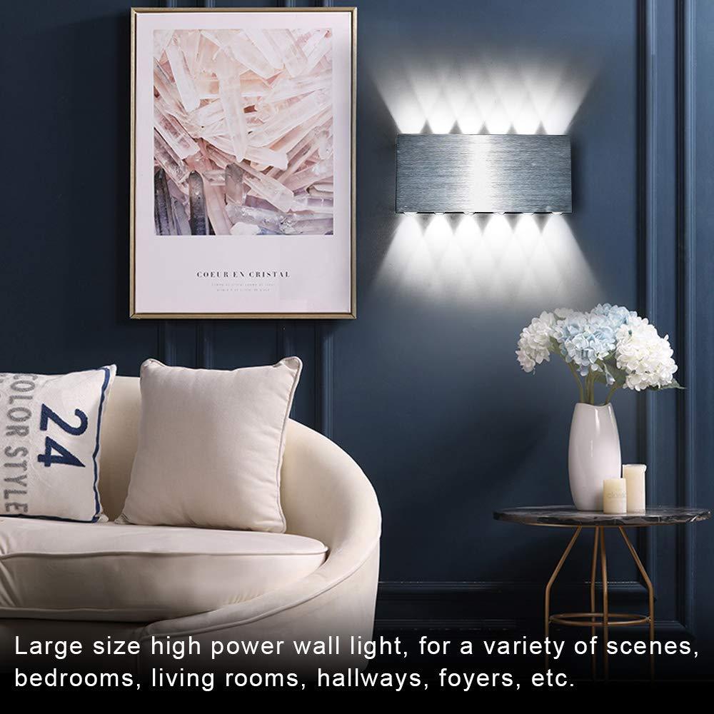 Lightess 24W Applique da Parete Interni Lampada a Muro Applique LED Moderne in Metallo per Decorazione Soggiorno Camera da Letto Bagno Colore Bianco Caldo