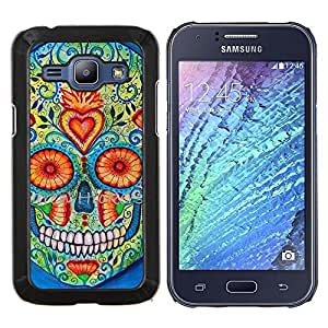 """Be-Star Único Patrón Plástico Duro Fundas Cover Cubre Hard Case Cover Para Samsung Galaxy J1 / J100 ( Daisy Cráneo floral del corazón la muerte de Primavera"""" )"""