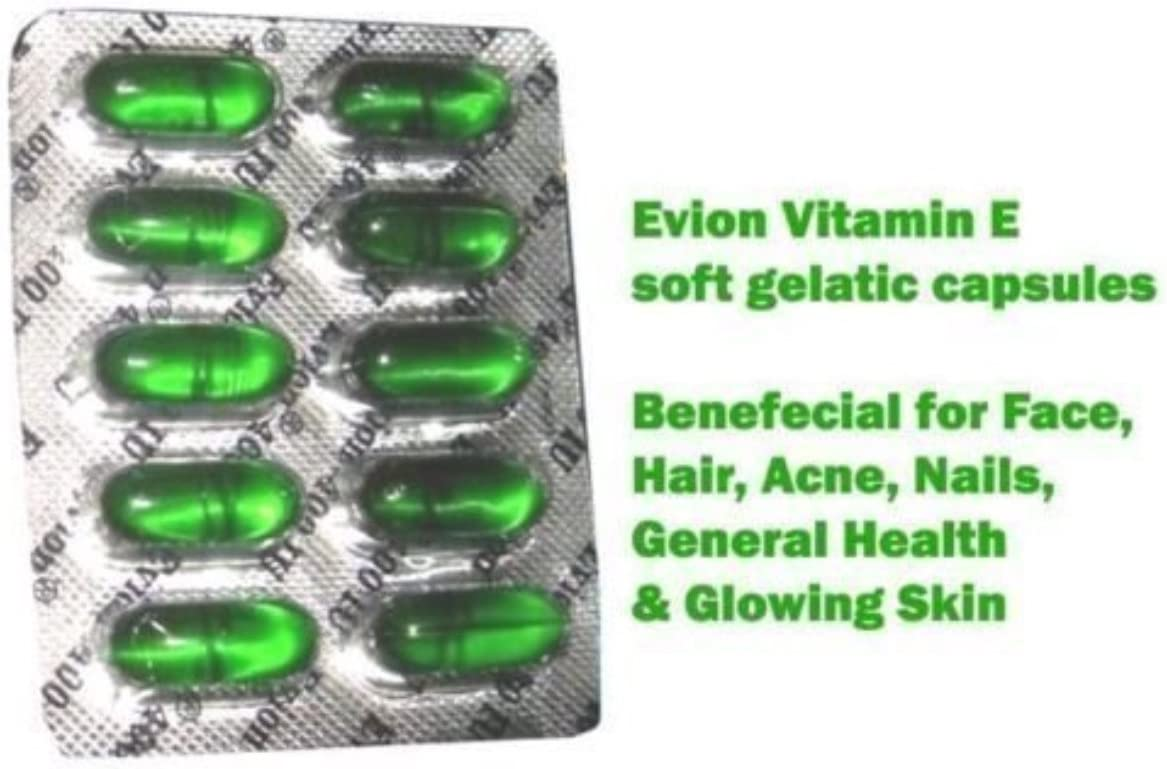 100 cápsulas Evion Vitamina E para rostro brillante, cabello fuerte, acné, uñas, piel brillante 400 mg