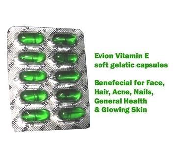 100 cápsulas Evion de vitamina E para cara brillante, pelo fuerte, acné, uñas, piel brillante 400 mg: Amazon.es: Belleza
