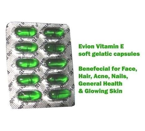 100 cápsulas Evion de vitamina E para cara brillante, pelo fuerte, acné, uñas