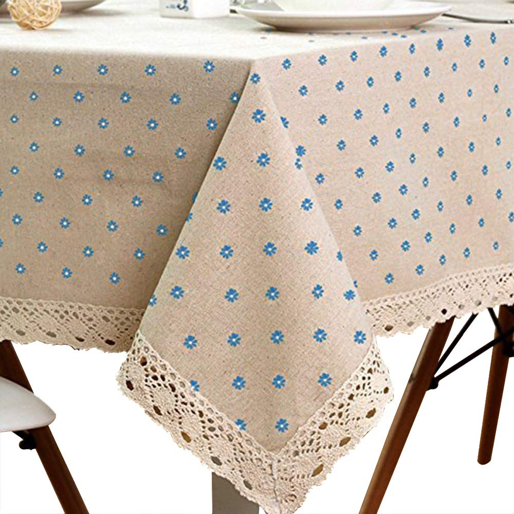 Cotton And Hemp, Machine Washable, Dinner, Summer & Picnic Tablecloth, Available In Various Sizes(Blue,35.4x55.1In)