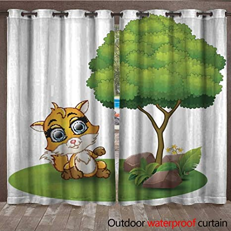 Cortina para ventana con diseño de animales del bosque de ...