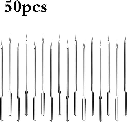 Porcyco Agujas para máquinas de coser 50 unidades, agujas de coser ...