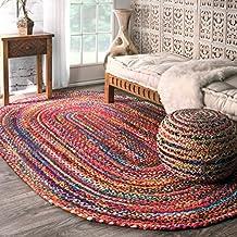 nuLOOM 200MGNM04A-305O Casual Handmade Braided Cotton Multi Rug (3-Feet X 5-Feet Oval)