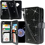 Cheap Galaxy S9 Plus Case, Lacass Detachable 2 in 1 Glitter Shiny PU Leather Flip Wallet Case with 12 Card Slots and Wrist Strap for Samsung Galaxy S9 Plus (2018) – Glitter Black
