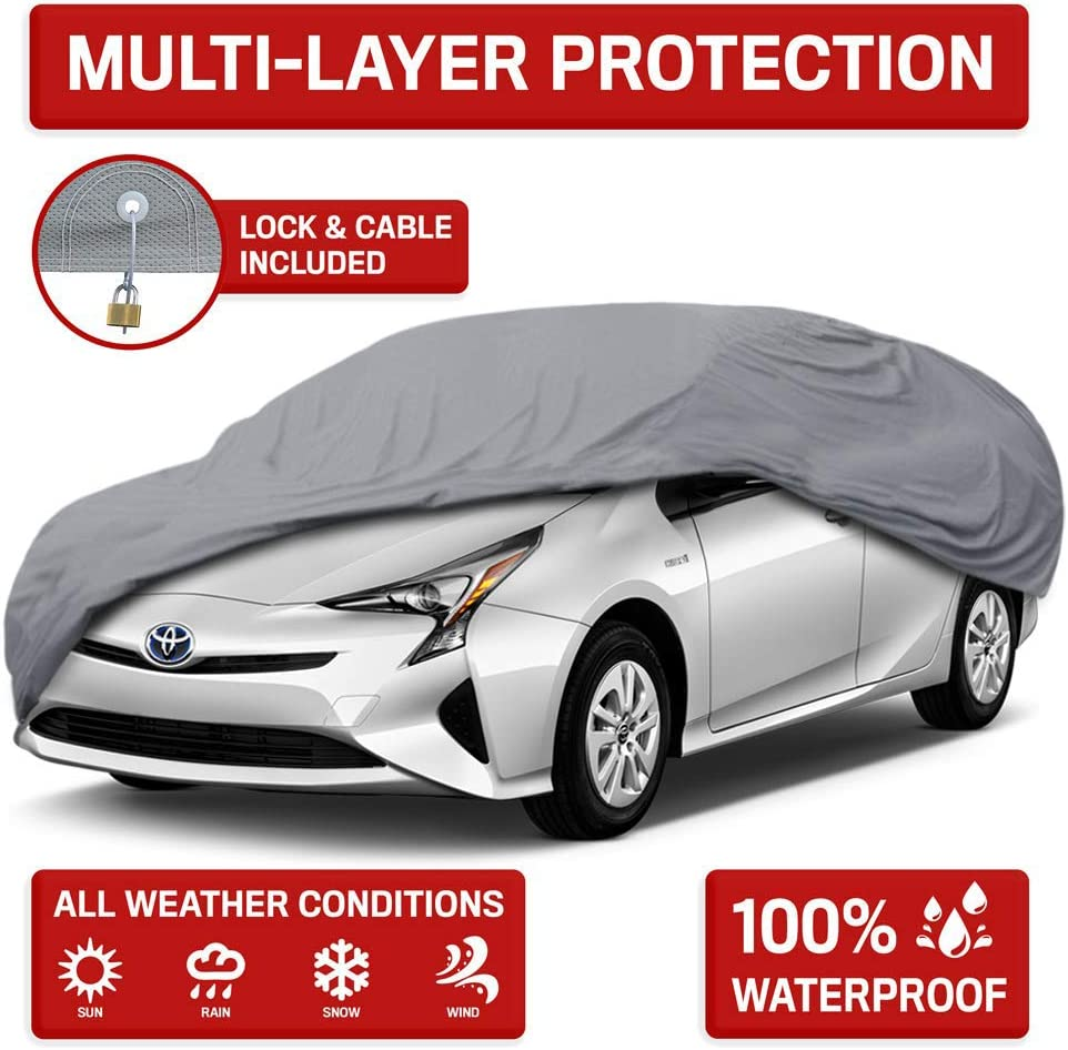 Motor Trend OC443 4 Layer Series Outdoor Car Cover Custom Fit for Toyota Prius 2001-2018 All Weather Protect Waterproof