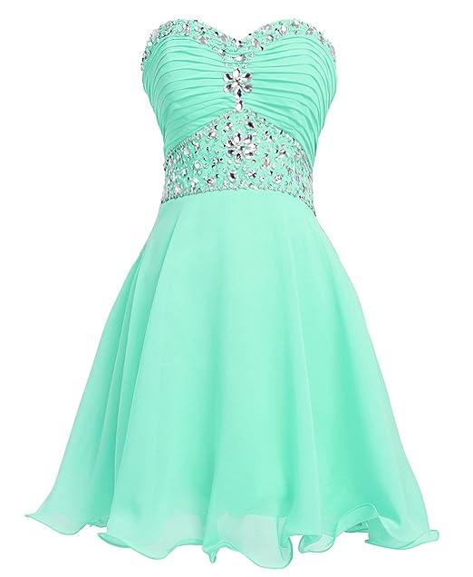 Fashion Plaza Vestido Corto de Gasa Cristal Vestido de Fiesta D0263 Verde Claro UK4