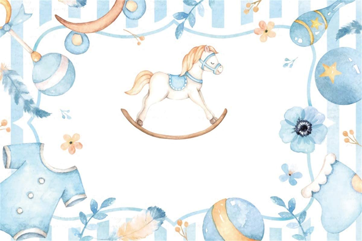 YEELE 10x8ft Bue Wooden Horse Photography Backdrop Boys Birthday Party Background Blue Baby Clothes Toys Decoration Infant Newborn Photos Baby Shower Artistic Portrait Photobooth Props Wallpaper