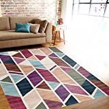 "Rugshop Modern Geometric Design Color Soft Indoor Area Rug, 7'10"" x 10'2″, Multicolor"