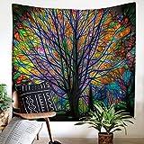 Gfeu beau arbre tentures murales tapisserie psych d lique for t avec oiseaux tenture murale - Decoration chambre psychedelique ...