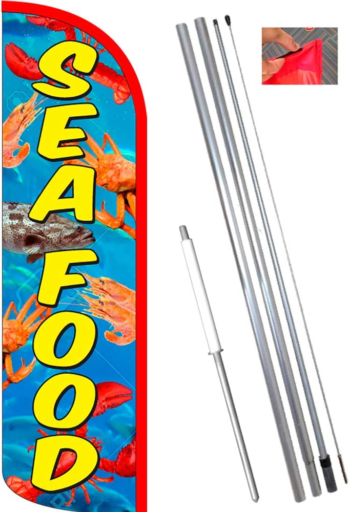 Seafood Welcome King Swooper Feather Flag Sign Kit with Pole and Ground Spike Fish Tacos Pack of 3