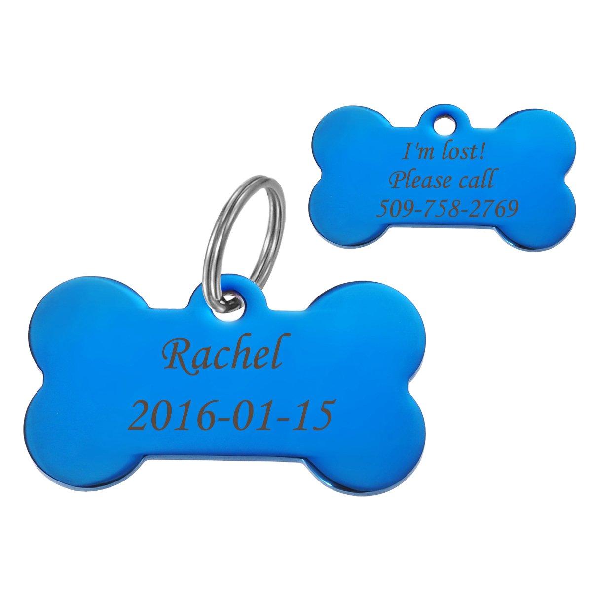 HooAMI Médaille Chien Chat Identification Gravure Personnalisé Prénom Adresse Tel en Acier Inoxydable avec Service Gratuit de Gravure 3.5x1.5cm Best-shopping