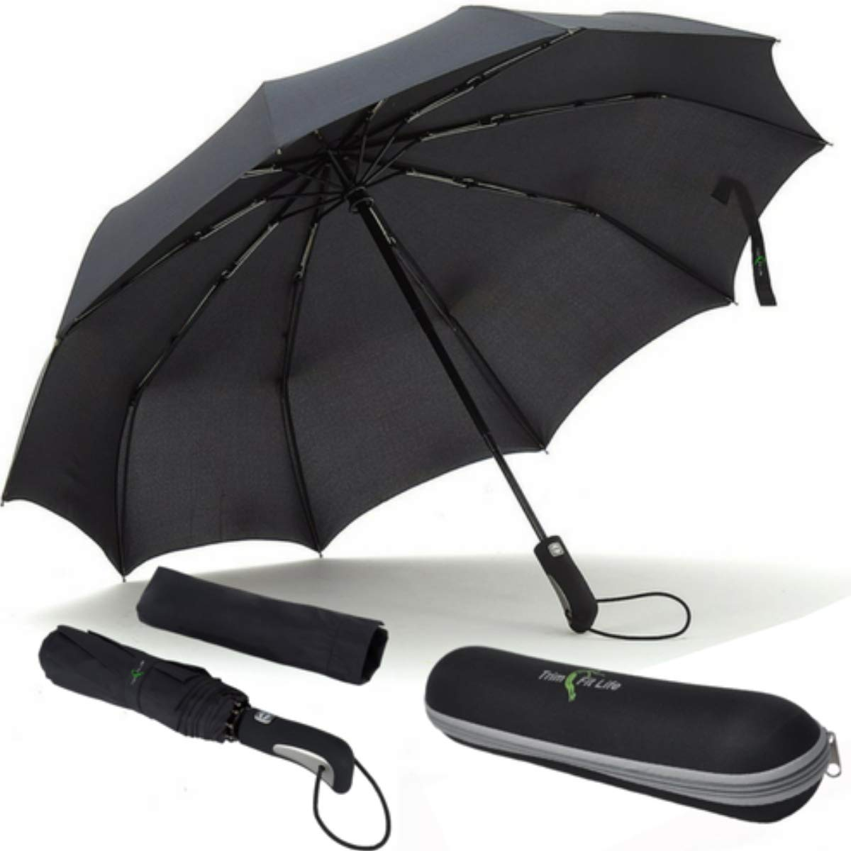 PhlipUp- Teflon Coated WindProof Compact Travel Umbrella With Water Repel Case Trim Fit Life 35045
