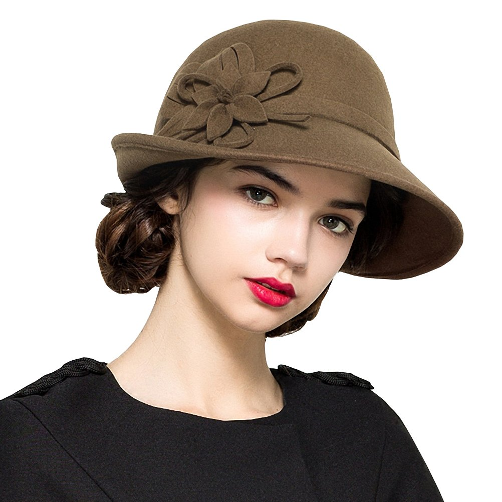 Edwardian Hats, Titanic Hats, Tea Party Hats Maitose Womens Wool Felt Flowers Church Bowler Hats $31.10 AT vintagedancer.com