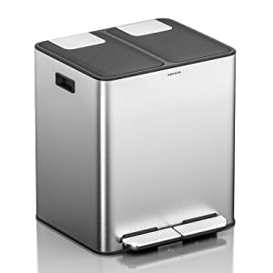 ANVAVA Trash Can, 7.9 Gallon(2X15L) Dual Step Trash Can Stainless Steel Dual Compartment Recycling Kitchen Step Trash Canwith Removable Inner Bucket and Soft Close Lid Rubbish Bin (30 Liter)