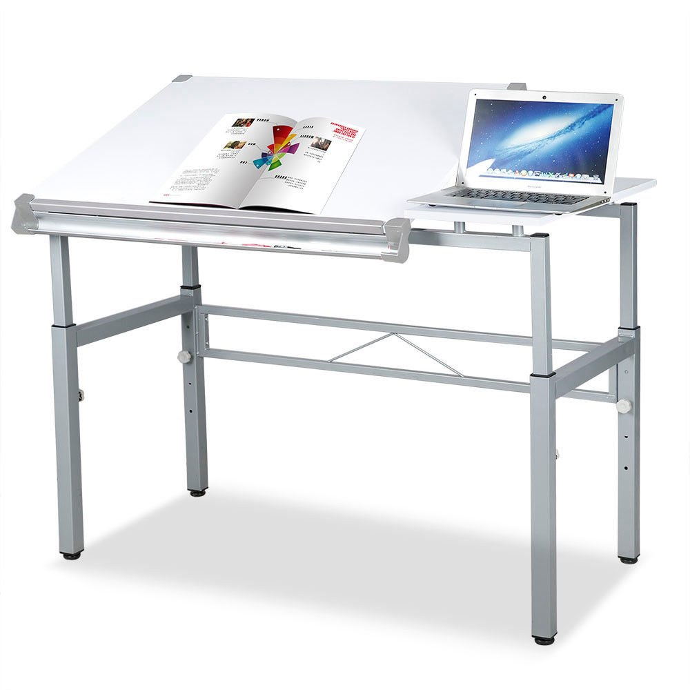 White Tilting Tabletop Height Adjustable Drawing Desk Workstation Dual Top Surface Painting Writing Reading Study Table Art Craft Hobby Studio Architect Office Home Work Sturdy Durable Metal Frame