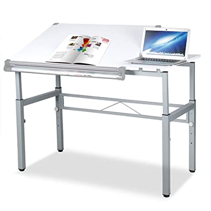 White Tilting Tabletop Height Adjustable Drawing Desk Workstation Dual Top  Surface Painting Writing Reading Study Table Art Craft Hobby Studio