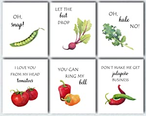 L & O Goods Funny Kitchen Wall Art | Farmhouse Rustic or Modern Home & Kitchen Decor | Vegetable Puns Theme Set Decorations | Artwork Pictures for Dining Room and Kitchen | Set of Six Posters 8 x 10